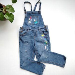Cat & Jack • girls sz 6 paint splattered overalls